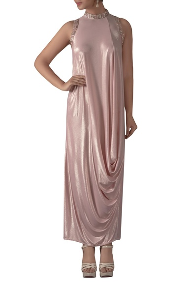 High Neck Embroidered Gown