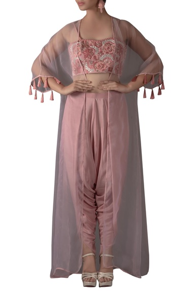 Embroidered Bustier, Jacket & Dhoti Set