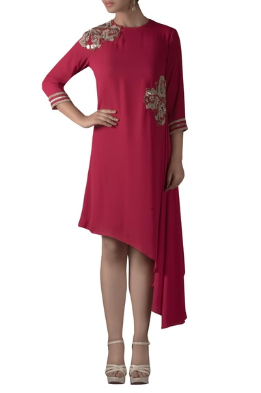 Asymmetric rose embroidered Dress