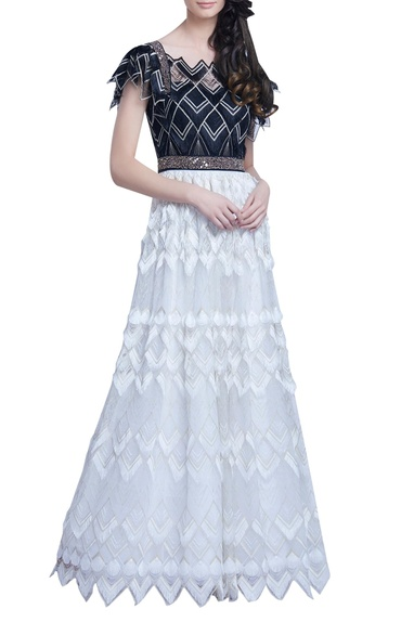 Bead & Feather Embellished Gown