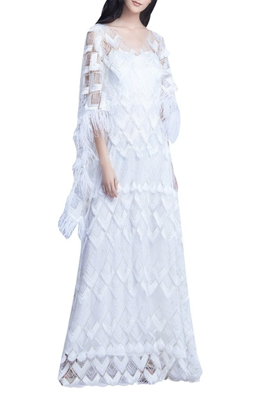 Bead & Feather Embellished Cape Gown