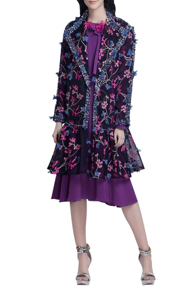 Floral Embroidered Long Coat