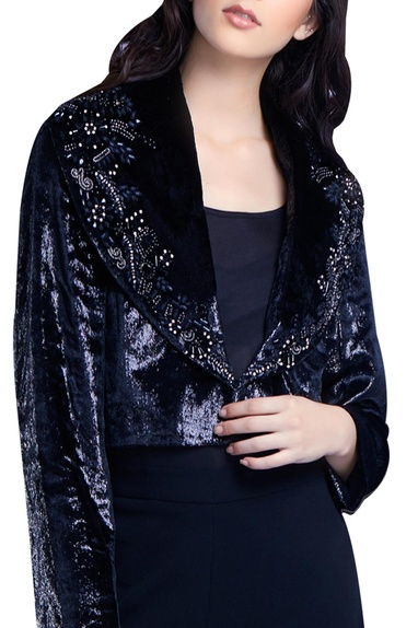 Bead Embroidered Cropped Blazer