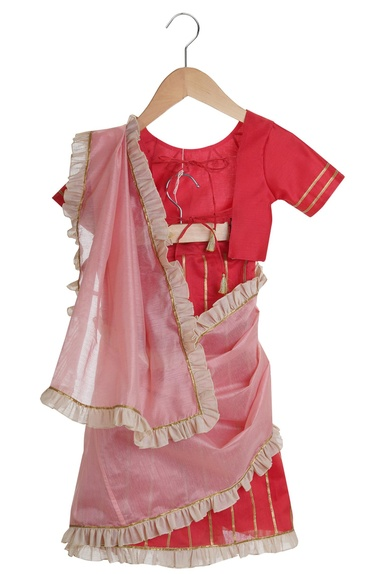 Pre Draped Saree With Tie Up Blouse