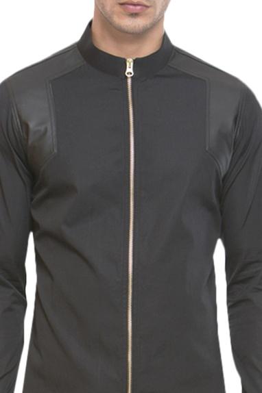 Zipper style leather panel shirt