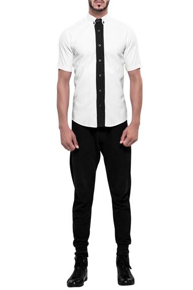 Contrast placket short sleeve shirt