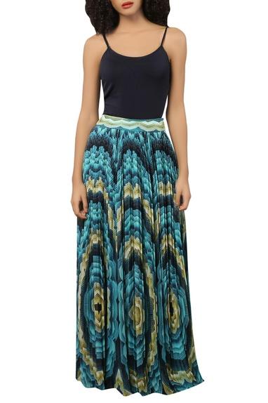 Aqua printed pleated maxi skirt