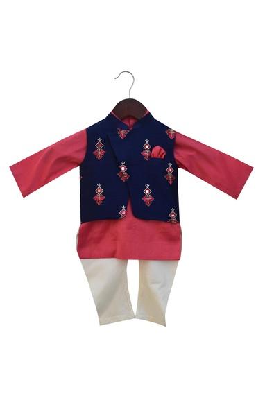 Embroidered nehru jacket with kurta and churidar