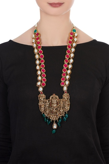 Kundan statement necklace with adjustable tie-up accents