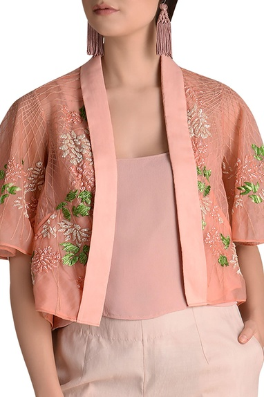 Silk thread embroidered & bugle beaded cape with inner