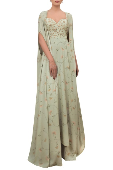 Floral printed sweetheart gown with cape