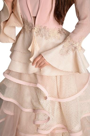 Mesh ruffle skirt with jacket blouse & inner