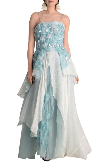 Multi layered gown with spaghetti sleeves