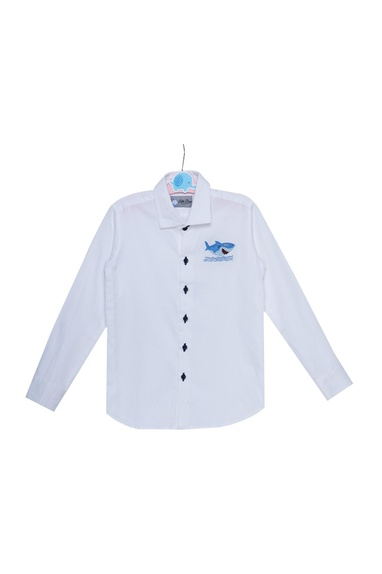 Embroidered shirt with button placket