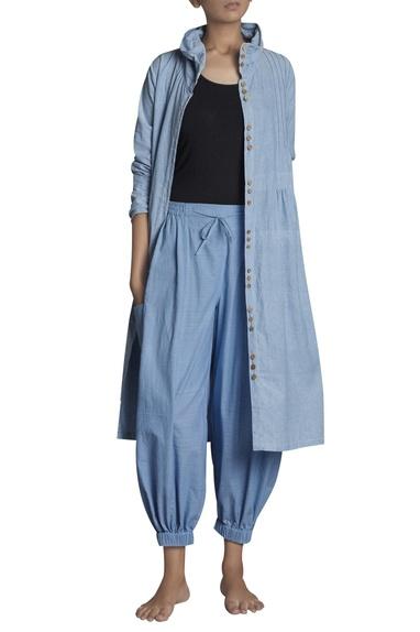 High waist elasticized handspun khadi pants
