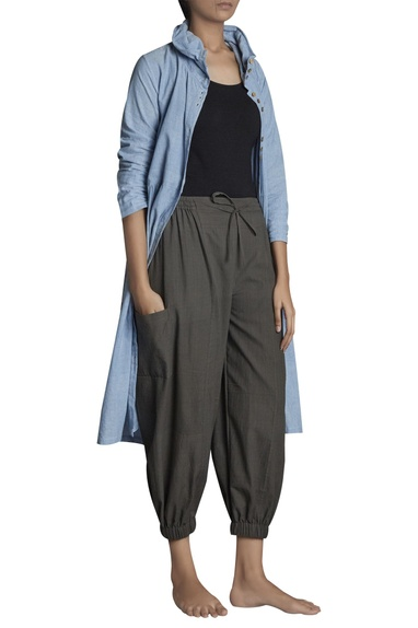 Handspun khadi high waist elastic waist pants