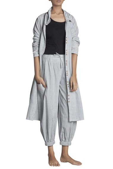 Stripe pattern handspun khadi high waist pants