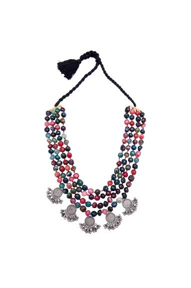 Layered princess necklace with semi-precious stones
