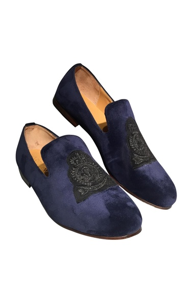 Velvet loafers with pure leather sole