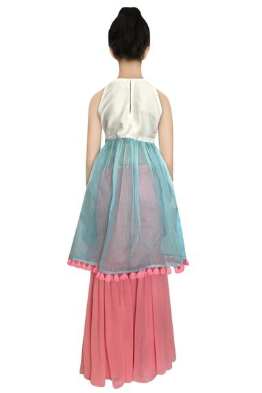Thread embroidered kurta with sharara pants