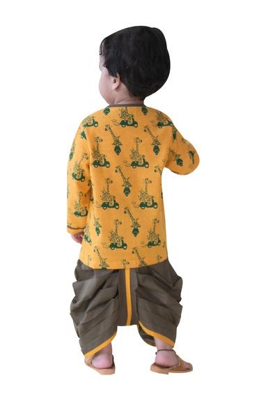 Giraffe safari printed kurta with dhoti pants
