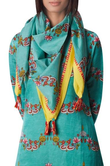 Printed cotton silk scarf