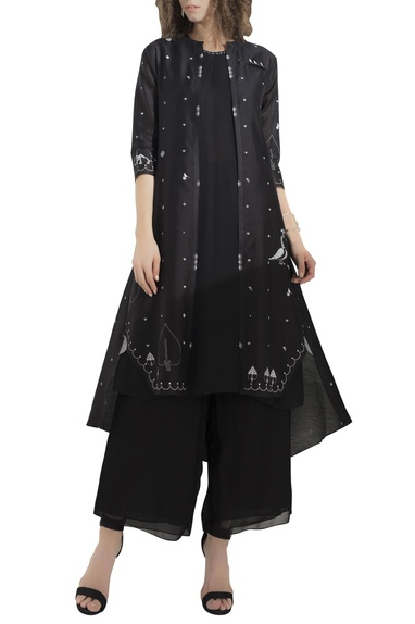 Kurta with embroidered jacket & palazzo pants