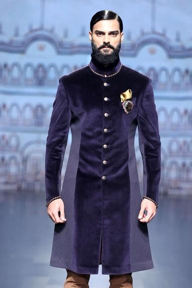 Navy velvet achkan