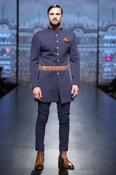Blue quilted achkan