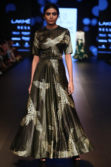 Foil printed satin gown