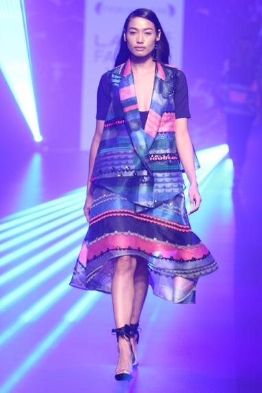 Organza stripe applique jacket & skirt