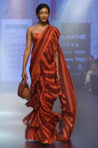 Striped ruffle sari with blouse
