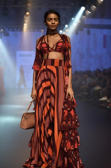 Tiered cape with embroidered blouse & pants