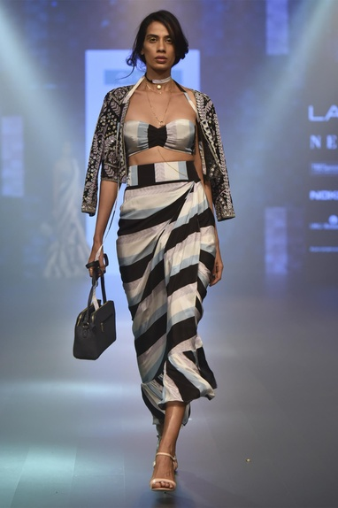 Draped skirt with embroidered jacket & bustier