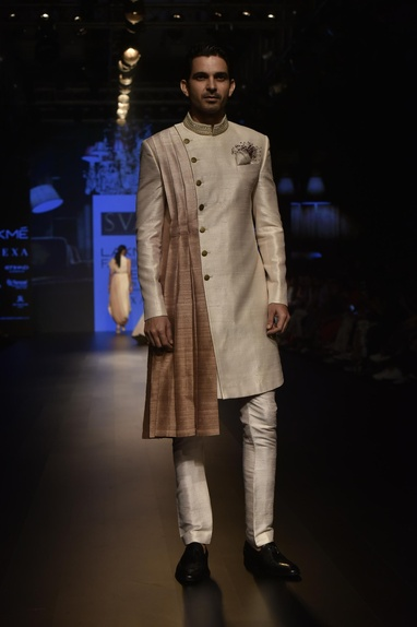 Raw silk drape layer sherwani with pants