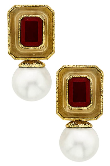 Marsala pearl drop earrings