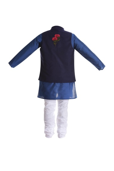 Parrot embroidered motif jacket with kurta and churidar