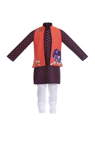 Cotton silk elephant embroidered jacket with kurta and churidar