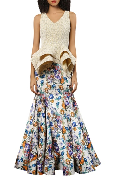 Crepe peplum blouse with maxi lehenaga skirt
