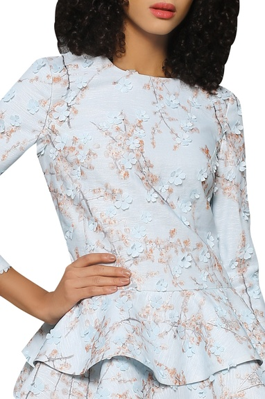 Floral patchwork peplum blouse with lehenaga skirt