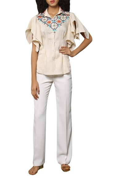 Ruffle sleeves embroidered shirt