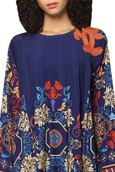 Poly crepe silk printed shift dress