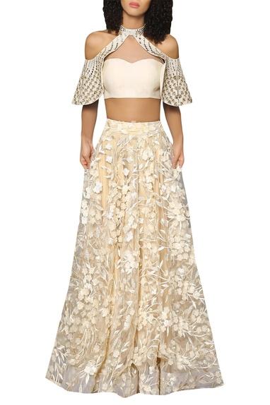 Halter bustier blouse with flared lehenga skirt