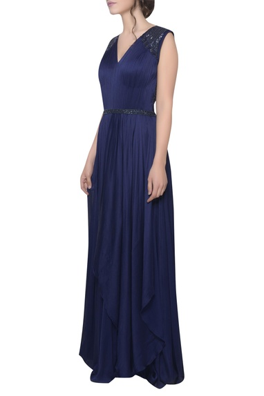 Pleated embroidered shoulder gown