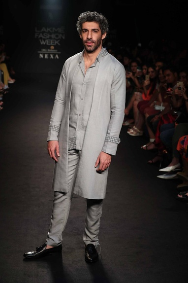Silk linen sherwani jacket with shirt & pants