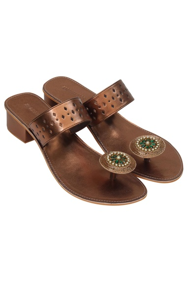 Embellished box heel sandals