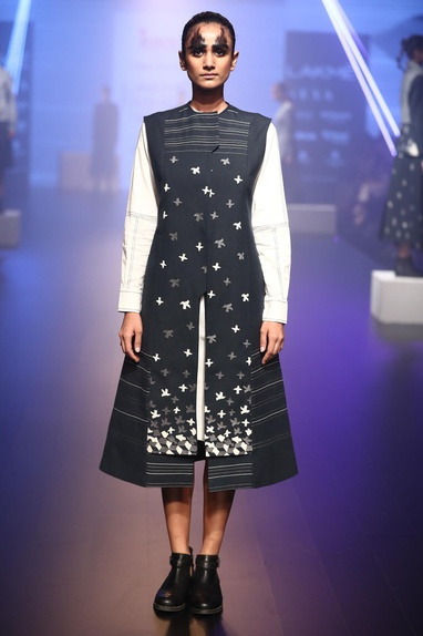 Hand embroidered jacket with shirt dress