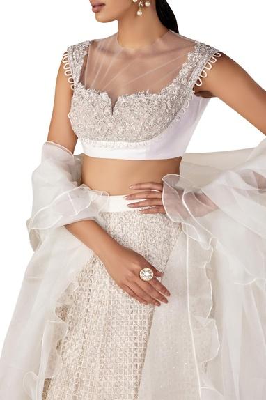 Embellished blouse with lehenga & ruffle dupatta