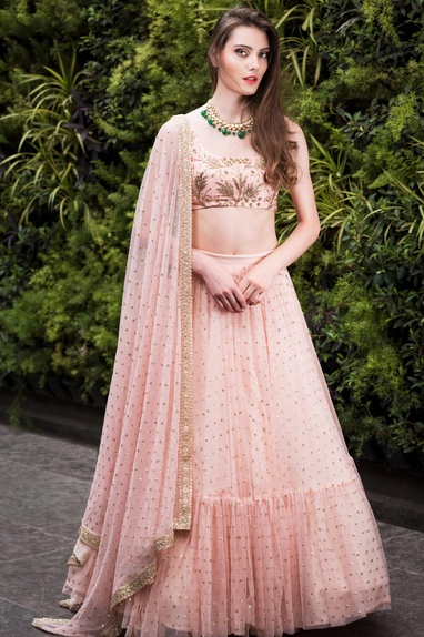 Nakshi, sequin & zari work lehenga with blouse & dupatta