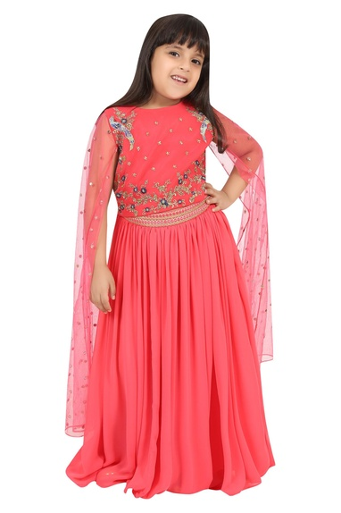 Embroidered flared sleeves blouse with lehenga